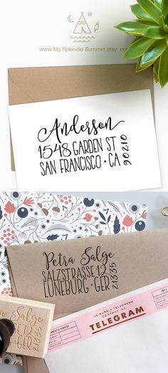 Custom address stamp, Cute Return Address Stamp with a fancy font for weddings, housewarming parties and as a customized gift for holidays My Splendid Summer mysplendidsummer