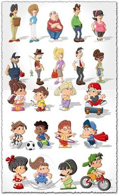 Cartoon kids and old people character vectors