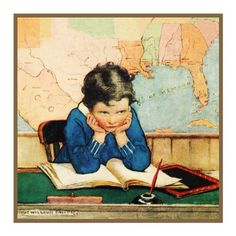 Young Girl Playing Teacher By Jessie Willcox Smith Counted Cross Stitch or Counted Needlepoint Pattern