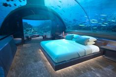 After years of construction, the world's first underwater hotel has officially opened in the Maldives. The hotel, part of the Conrad Maldives. Hotel Subaquático, Das Hotel, Hotel Suites, Visit Maldives, Maldives Travel, Maldives Villas, The Maldives, Maldives Underwater Hotel, Underwater Bedroom
