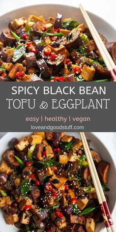 Spicy black bean tofu and eggplant Easy stir-fried tofu and eggplant in a spicy black bean chilli sauce. This healthy plant based meal comes together in under 30 minutes - a better than takeout Szechuan style Chinese dish made easily at home! Plant Based Recipes, Veggie Recipes, Whole Food Recipes, Healthy Recipes, Thai Vegetarian Recipes, Healthy Eggplant Recipes, Spicy Tofu Recipes, Plant Based Meals, Chinese Eggplant Recipes