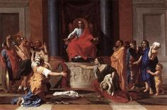 NICOLAS POUSSIN, 1594 - 1665: Judgment of Solomon. Oil on canvas, 101 x 150.