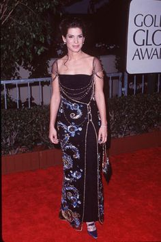 Sandra Bullock 1998 Golden Globes in Dior by John Galliano