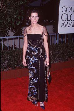 Sandra Bullock 1998 Golden Globes in Dior by John Galliano