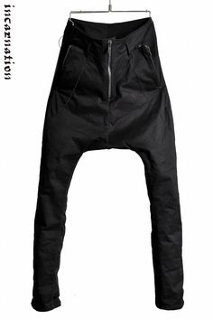 """incarnation  DOBBY COTTON ELASTIC """"OVER LOCKED"""" SARROUEL TROUSERS with ZIP POCKET"""
