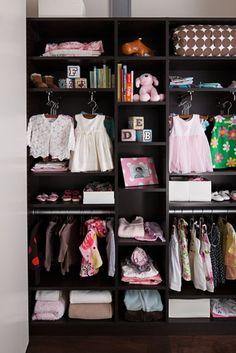Girl's interior closet in dark wood #matildajaneclothing #MJCdreamcloset