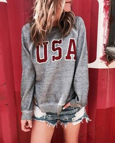 Wildfox Couture Baggy Beach Jumper - USA Pullover Teamed With Distressed Jeans Shorts
