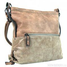 Dámská crossbody kabelka z broušené kůže 165B-6 hnědo-béžová : NewBerry - velkoobchod dámské kabelky, crossbody, pánské tašky, peněženky, batohy, módní doplňky