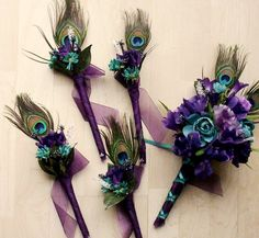Wedding Flowers Peacock Feathers Bridal Bouquet Boutonnieres Package 15 Pieces Purple Teal