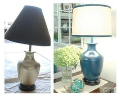 $5 brash lamp from Goodwill got a dose of Rustoleum's glossy 'Night Tide' spray paint Timber Furniture, Diy Furniture Plans, Recycled Furniture, Furniture Making, Spray Paint Lamps, Painting Lamps, Lamp Redo, Lamp Makeover, Home Lighting