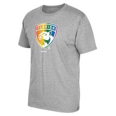 Men's Florida Panthers Reebok Gray Rainbow Pride T-Shirt ❤ liked on Polyvore featuring men's fashion, men's clothing, men's shirts, men's t-shirts, mens t shirts, mens gray dress shirt, mens grey t shirt and mens grey shirt