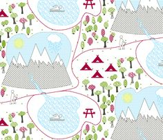 Trail Map fabric by plaid_thursdays on Spoonflower - custom fabric Custom Map, Custom Fabric, Map Fabric, Trail Maps, Baby Quilts, Spoonflower, Wilderness, Fabrics, Gift Wrapping