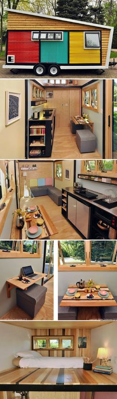 The Toy Box tiny house. A home on wheels measuring just 140 sq ft. Tyni House, Tiny House Living, Small Living, Small Room Design, Tiny House Design, Tiny House Plans, Tiny House On Wheels, Tiny House Trailer, Deco Design