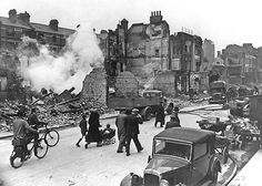 Broadcast news pioneer Edward R. Murrow famously captured the devastation of the London Blitz.