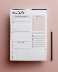 Printable Weekly Planner Template Organise your life one week at a time, with this free printable weekly planner by Paper Birch. To Do Planner, Diary Planner, Study Planner, Life Planner, Wall Planner, College Planner, College Tips, Weekly Planner Template, Daily Planner Printable
