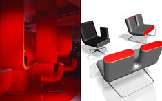 We are a global and creative design studio in Geneva, Tokyo and Beijing. Red Chairs, Cafe Chairs, Red Desk, Black Armchair, Red Floor, Interior Architecture, Interior Design, Working Area, Tokyo Japan