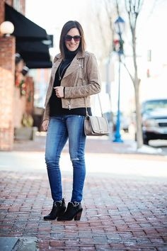 How to Wear a Suede Moto Jacket for Winter: Winter Outfit with BlankNYC suede moto jacket in Midnight Toker over black turtleneck with AG raw hem ankle legging jeans and Rag & Bone Margot booties.