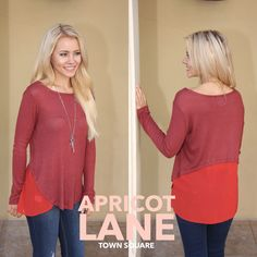 """Mixed medium rust and orange long sleeve shirt that is super cool with any bottom! Denim to army green cargo pants! Model is wearing small and she is 5'3"""" $28! #shopalb #apricotlane comes in olive too!"""