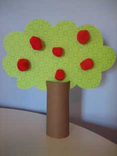 paper tube apple tree - What you will need to make your own tree:    ◦An empty toilet paper roll  ◦Brown paper  ◦Green paper  ◦Red pom-poms  ◦Glue