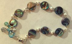 Hand knotted semi precious abalone creamy white by Bracelet Clasps, Beaded Bracelets, London Blue Topaz, Creamy White, Fresh Water, My Etsy Shop, Pearls, Sterling Silver, Earrings