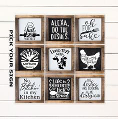 Kitchen Coffee Bar Mini Farmhouse Sign for Tiered Trays. Tiered Tray Decor, Coffee Bar Sign, F Halloween Signs, Spirit Halloween, Halloween Decorations, Coffee Bars In Kitchen, Mini Kitchen, Basic Kitchen, Bathroom Shelf Decor, Coffee Bar Signs, Bar Shelves