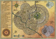 A city map commisioned for Steel and Steam, an upcoming fantasy steampunk kickstarter run by Silverhold Studios. Fantasy Map Making, Fantasy City Map, Fantasy World Map, Fantasy Rpg, City Layout, Map Layout, Rpg Map, Dungeon Maps, Fantasy Inspiration