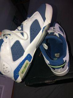 023d0597ef8b Air Jordan 6 Retro Low BG White Ghost Green Insign Blue Sz 6.5Y 768881 106
