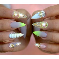 Neon Yellow and White Negative Space Nails With Rhinestones and Gold Accents