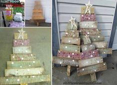 Whip up a striking pallet wood Christmas tree with pallet blocks. Check out the steps of crafting the tree and the brilliant ideas for embellishing it. Homemade Christmas Decorations, Holiday Crafts, Holiday Decor, Outside Xmas Decorations, Yard Decorations, Cool Diy, Pallet Wood Christmas Tree, Nailart, Wood Crafts