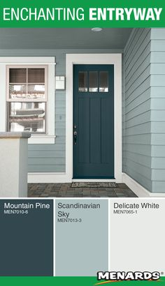 Give your entryway a pop of color with a bold painted door! This color pallete from Pittsburgh Paints & Stains® will create a calm yet fun atmosphere. House Exterior Color Schemes, Exterior Paint Colors For House, Paint Colors For Home, Exterior Design, Cottage Exterior Colors, Siding Colors For Houses, Outside House Colors, House Paint Color Combination, Exterior Makeover