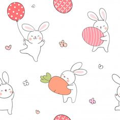 Seamless pattern rabbit with egg and carrot for spring. - Buy this stock vector and explore similar vectors at Adobe Stock Flower Doodles, Cute Doodles, Easter Egg Cartoon, Doodles Bonitos, Rabbit Illustration, Doodle Cartoon, Cute Baby Bunnies, Bunny Birthday, Baby Drawing