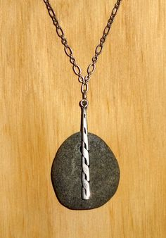 River Stone and Antique Silver Pendant Necklace by EvoSpiritArts on Etsy