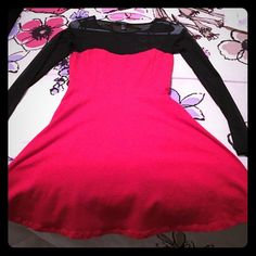 Red dress Amazing red dress with transparent black sleeves Forever 21 Dresses Mini