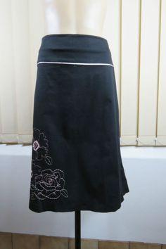 Plus Size 2XL 18 Jacqui E Ladies Black Skirt Casual Stretch Resort Floral Design