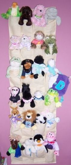 A cool idea for storing and displaying their favorite smaller sized stuffed animals.