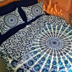 Queen Size Mandala Duvet Cover with 2 pillowcases  by SprngDesgn