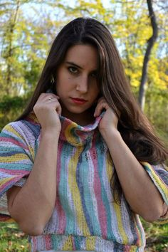 Remera tejida multicolor , rayas organicas :::