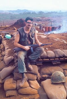 US Marine at Khe Sanh with an M2 carbine.  #VietnamWarMemories.