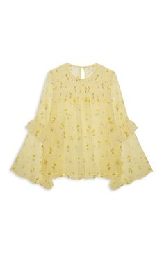Yellow Shirred Flute Sleeve Top