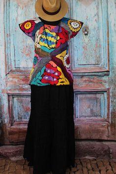 Hand Embroidered Huipil Blouse Butterflies Jalapa Oaxaca Mexico Santa Fe Style #Handmade #MexicanDress