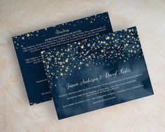 Wedding invitations, navy blue watercolor, silver glitter, gold glitter, starry night, twinkling stars, glitter wedding invitation, Stars by www.appleberryink.com