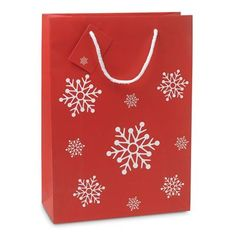 Elegant gift paper bag with snowflakes pattern. Plastic Carrier Bags, Snowflake Pattern, Paper Gifts, Paper Bags, Branded Bags, Shopper Bag, Christmas Is Coming, How To Make Paper, Blogger Themes