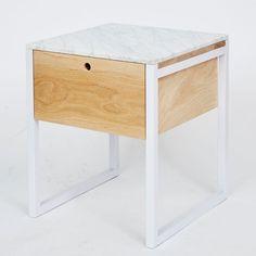 Max Italian Carrara Bedside Table - American Oak