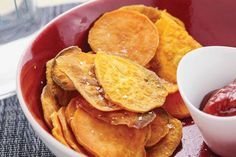 Sweet Potato Chips. They're perfect for when you need quick, healthy carbs, and are a great on-the-go snack. Use with recipe: Crab Salad Sweet Potato Chip Bites.. #healthy #snacks on the go