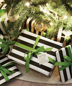 Pretty Packages. Christmas. Gift Wrap. Stripes. Contrasting Ribbon.