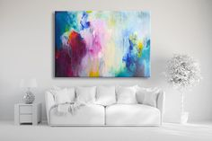 Original XXL extra large abstract painting, abstract art, modern fine art painting, pink bordeaux, shades of blue turquoise, canvas painting