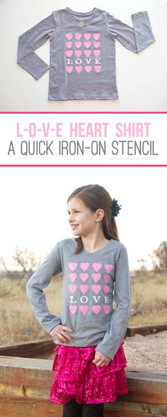 """I LOVE YOU"" Heart Shirt (an iron-on Freezer Paper stencil)...fun for Valentine's, or any other day of the year! 