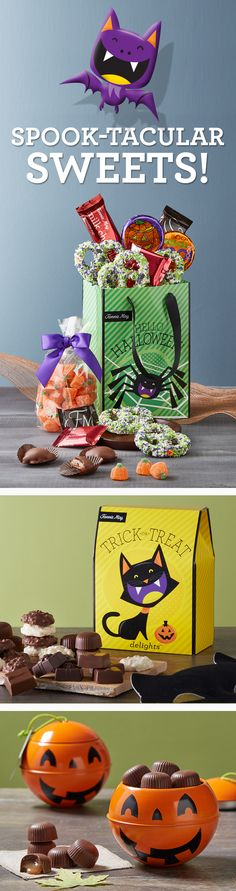 Shop our Halloween treats today! Delicious, rich, and spook-tacularly sweets for any occasion. Check out the adorable reusable tote bag too :)