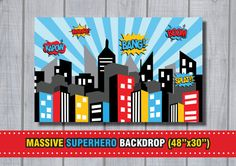 MASSIVE SUPERHERO Backdrop City Skyline por RedAppleStudio en Etsy