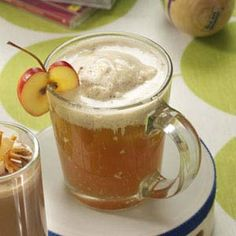 Hot Apple Pie Sipper Recipe from Taste of Home -- Hot apple pie with an ice cream batter as a beverage! Connie Young of Pony, Montana says you can make it an adult drink by stirring in a little brandy.